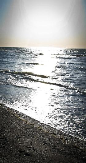 La mer alliée avec le soleil