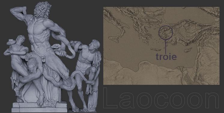 Laocoon et ses fils par Agesander, Athenedoros, Polydorus, 25 avant notre ère.