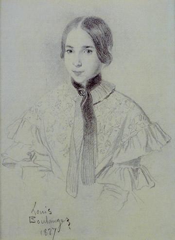 Léopoldine Hugo à 13 ans (1837) — dessin de Louis Boulanger