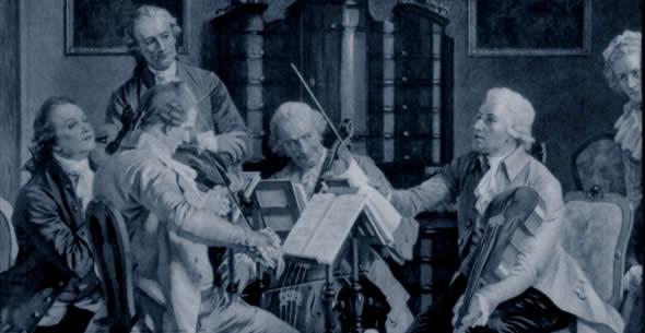 Haydn conduisant un quatuor