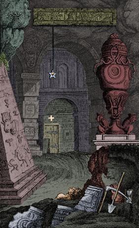 Version colorée de la page frontispice du livret de la Flûte enchantée tel que présenté le 1791-09-30