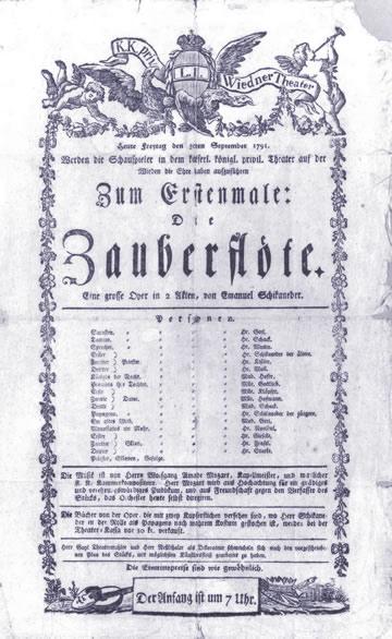 Programme original de la Flûte enchantée présentée au théâtre de Schikaneder à compter du 1791-09-30